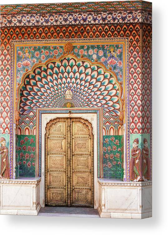 Arch Canvas Print featuring the photograph Lotus Gate In Jaipur City Palace by Hakat