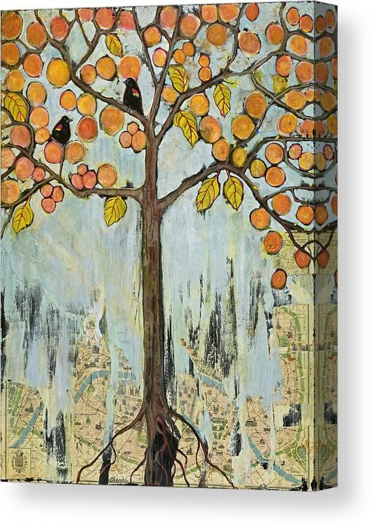 Paris Canvas Print featuring the painting Love Birds In Paris by Blenda Studio