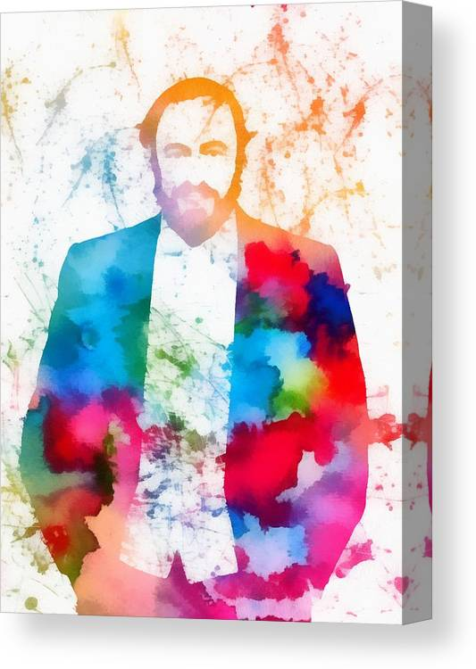 Luciano Pavarotti Paint Splatter Canvas Print featuring the painting Luciano Pavarotti Paint Splatter by Dan Sproul