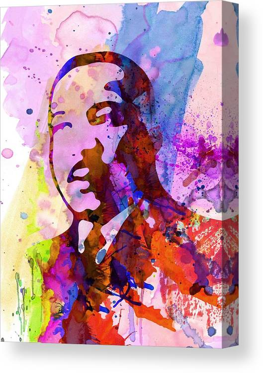 Martin Luther King Jr Canvas Print featuring the painting Martin Luther King Jr Watercolor by Naxart Studio