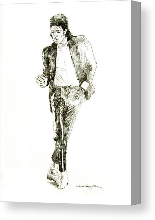 Michael Jackson Canvas Print featuring the drawing Michael Jackson Billy Jean by David Lloyd Glover