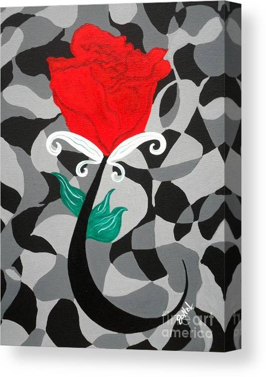 Rose Canvas Print featuring the painting Mosaic Rose-Red by JoNeL Art