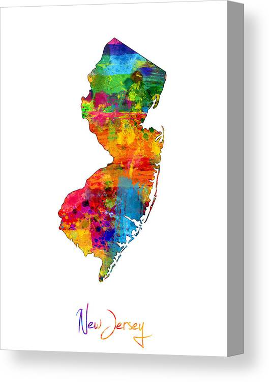 United States Map Canvas Print featuring the digital art New Jersey Map by Michael Tompsett