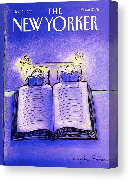 Married Couple Canvas Print featuring the painting New Yorker December 3rd, 1990 by Eugene Mihaesco
