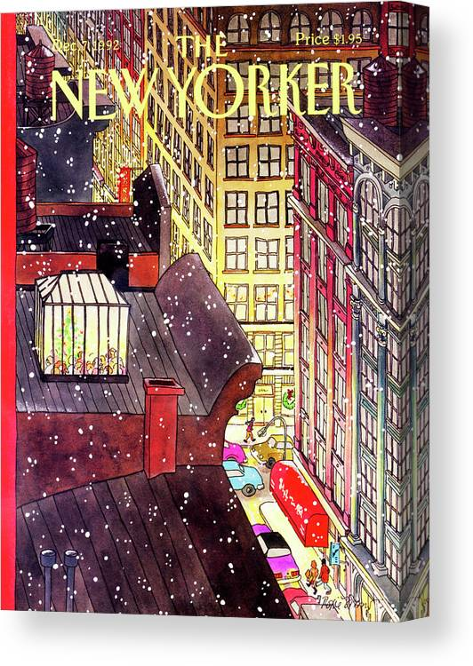 A Birds-eye View Of A Busy Shopping Evening Downtown. Snow Begins To Fall On The Rooftops Where One Sunroof Is Illuminated By A Crowd Gathered Around A Christmas Tree. Canvas Print featuring the painting New Yorker December 7th, 1992 by Roxie Munro