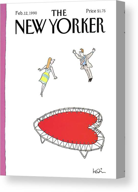 (a Man And A Woman Jump Towards Each Other On A Heart Shaped Trampoline.) Holidays Canvas Print featuring the painting New Yorker February 12th, 1990 by Arnie Levin