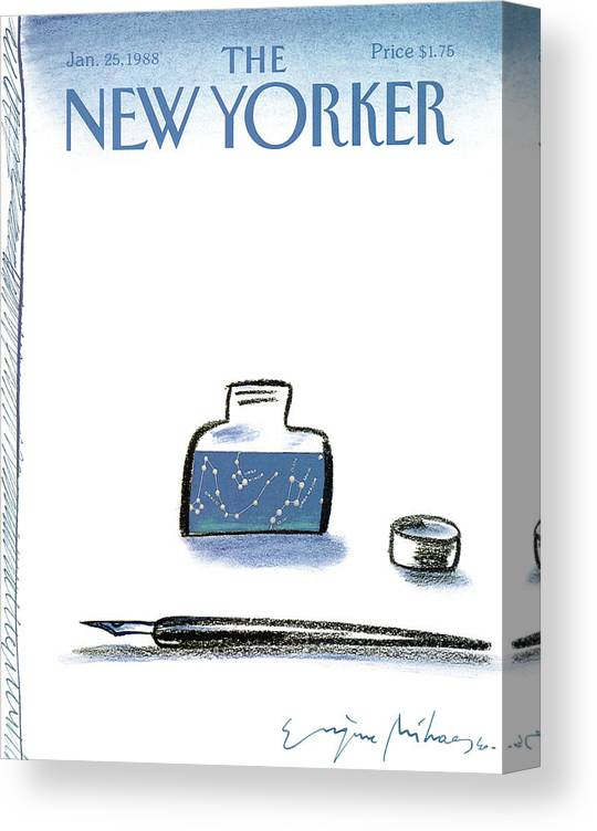 Pen Canvas Print featuring the painting New Yorker January 25th, 1988 by Eugene Mihaesco