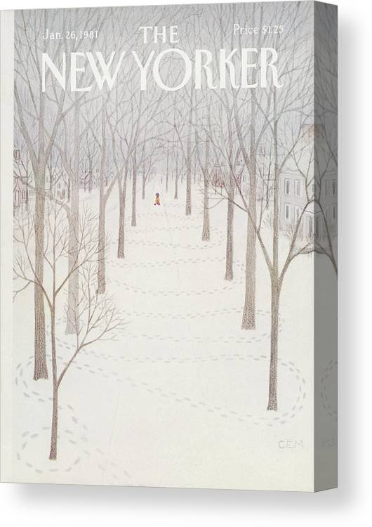 Season Canvas Print featuring the painting New Yorker January 26th, 1981 by Charles E Martin