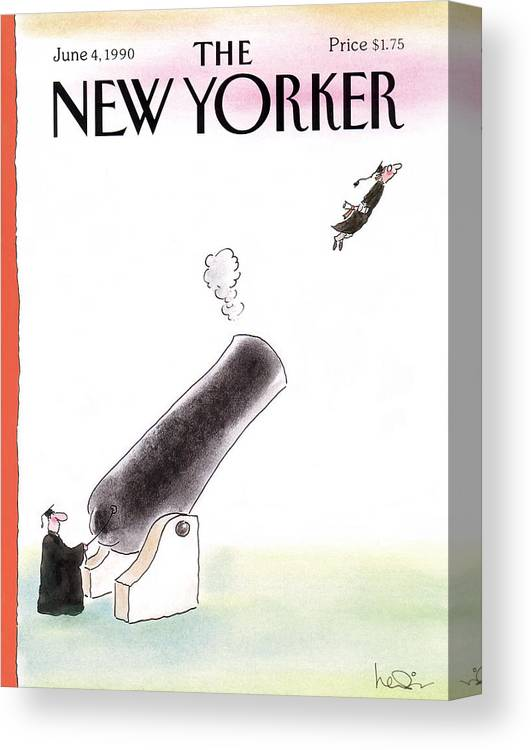 (a Young Graduate Is Shot From A Large Cannon.) Age Canvas Print featuring the painting New Yorker June 4th, 1990 by Arnie Levin