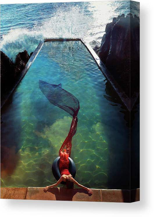 Human Arm Canvas Print featuring the photograph Pacific Islander Woman In Mermaid by Colin Anderson Productions Pty Ltd
