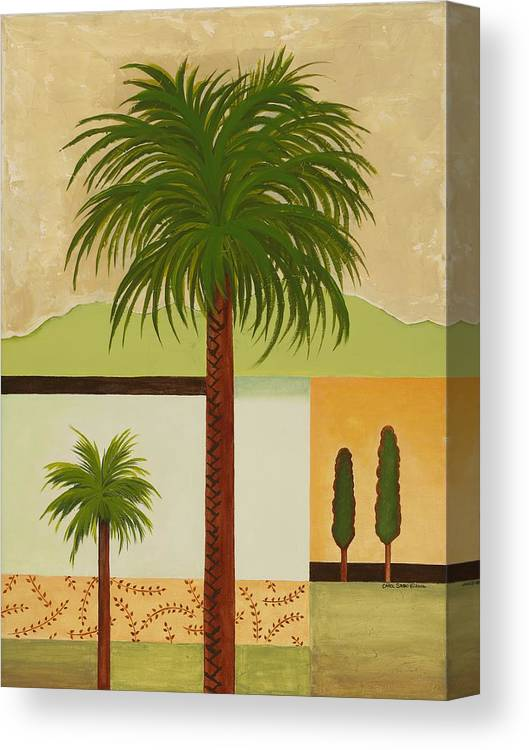 Palm Trees Canvas Print featuring the painting Palm Desert by Carol Sabo