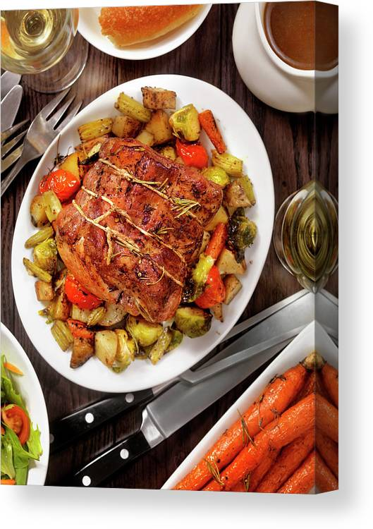 Gravy Canvas Print featuring the photograph Roasted Pork Loin Roast Dinner by Lauripatterson
