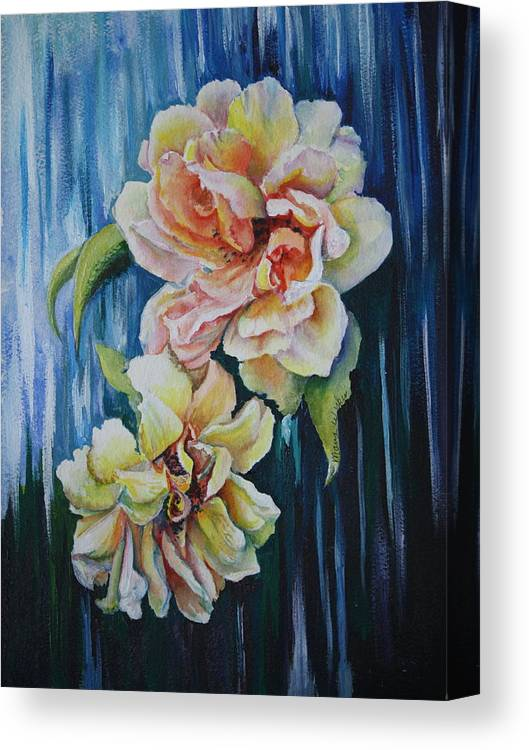 Roses Canvas Print featuring the painting Rose Duo by Mary Beglau Wykes