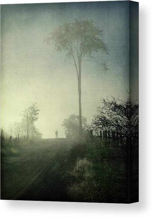Tranquility Canvas Print featuring the photograph Silhouette Of A Man In Fog by Francois Dion