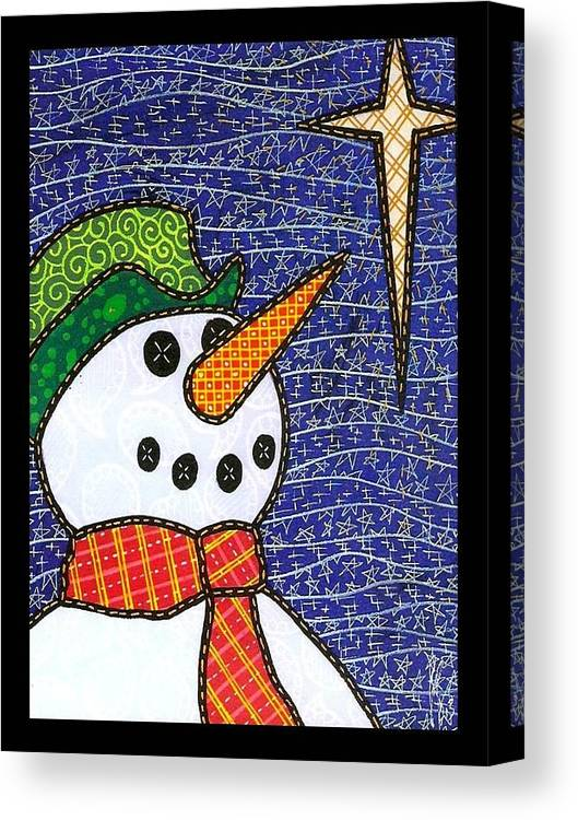 Snow Canvas Print featuring the painting Snowman And Star by Jim Harris