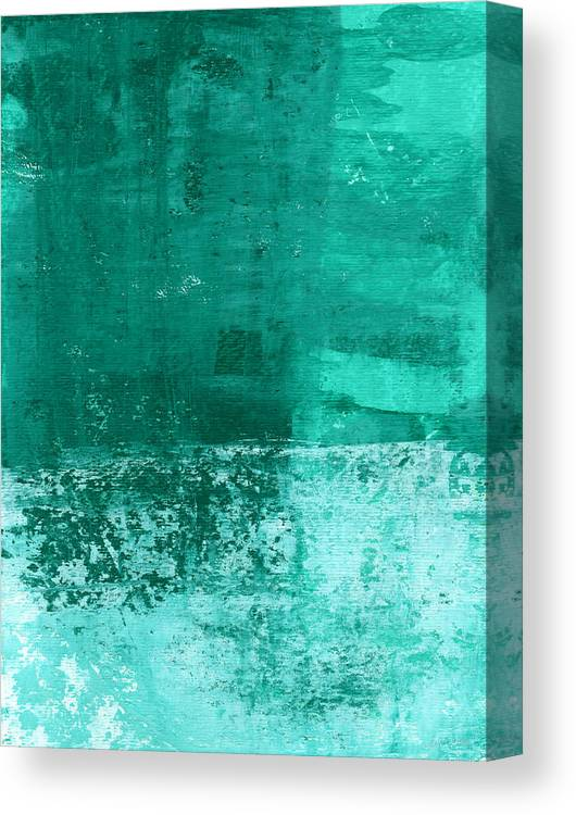 Abstract Art Canvas Print featuring the painting Soothing Sea - Abstract painting by Linda Woods