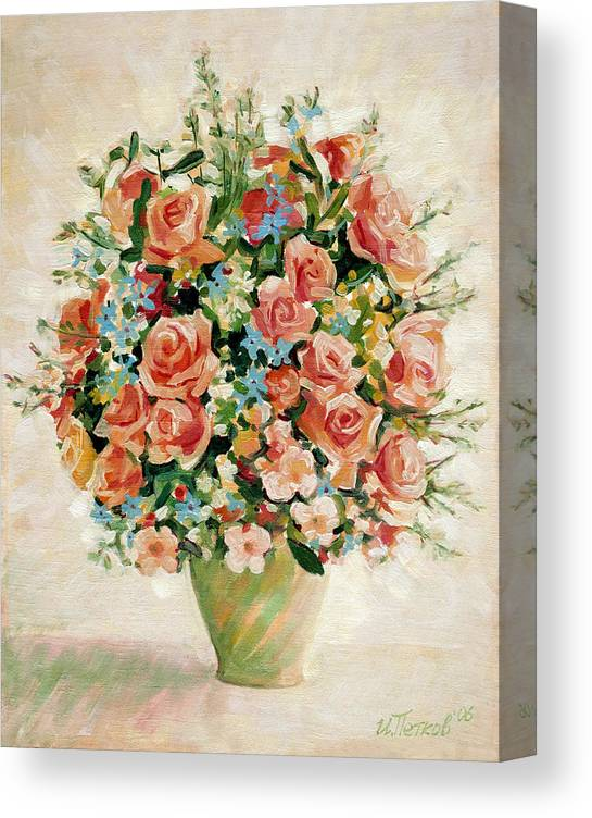 Flowers Canvas Print featuring the painting Still Life with Roses by Iliyan Bozhanov