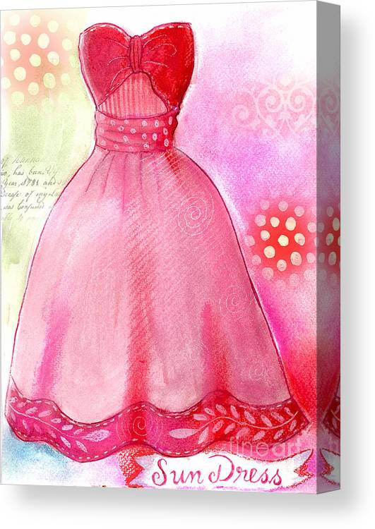 Dress Canvas Print featuring the mixed media Sun Dress by Elaine Jackson