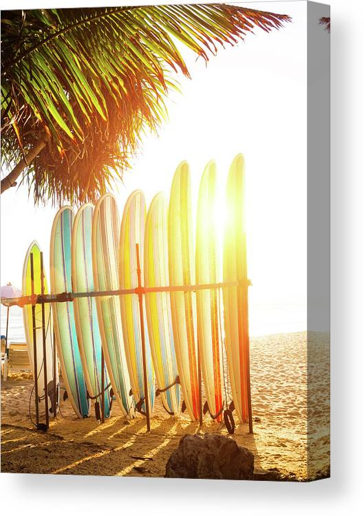 Recreational Pursuit Canvas Print featuring the photograph Surfboards At Ocean Beach by Arand