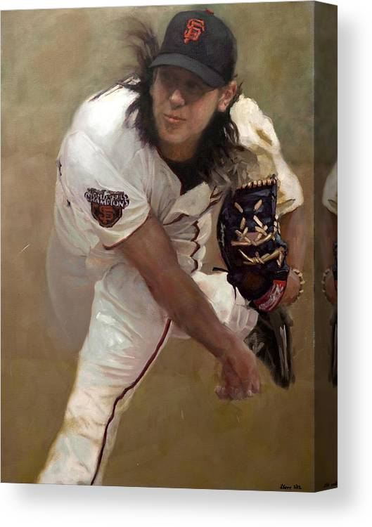 Tim Lincecum Canvas Print featuring the painting Tim Lincecum Changeup by Darren Kerr