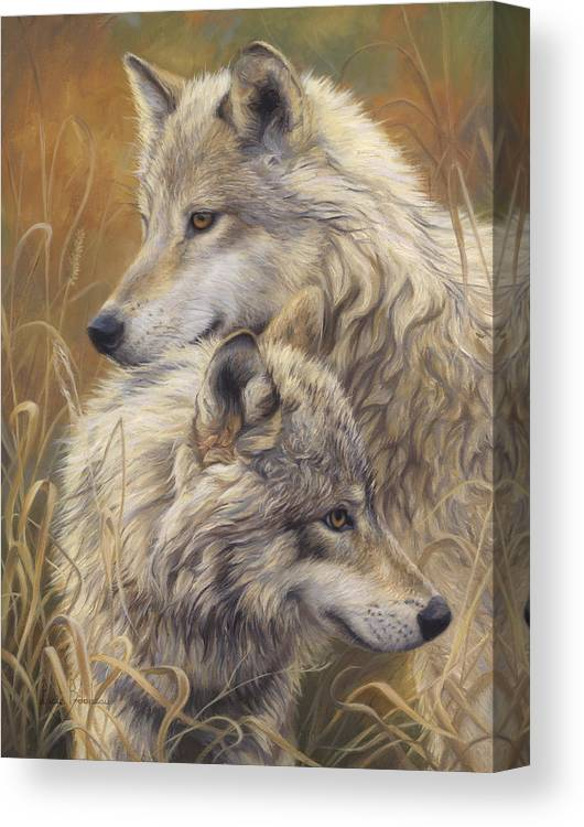 Wolf Canvas Print featuring the painting Together by Lucie Bilodeau
