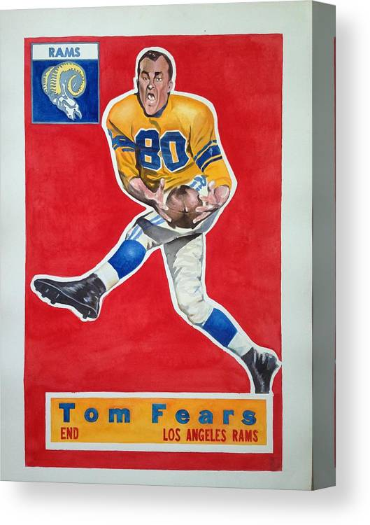 Los Angeles Rams Canvas Print featuring the painting Tom Fears by Robert Myers
