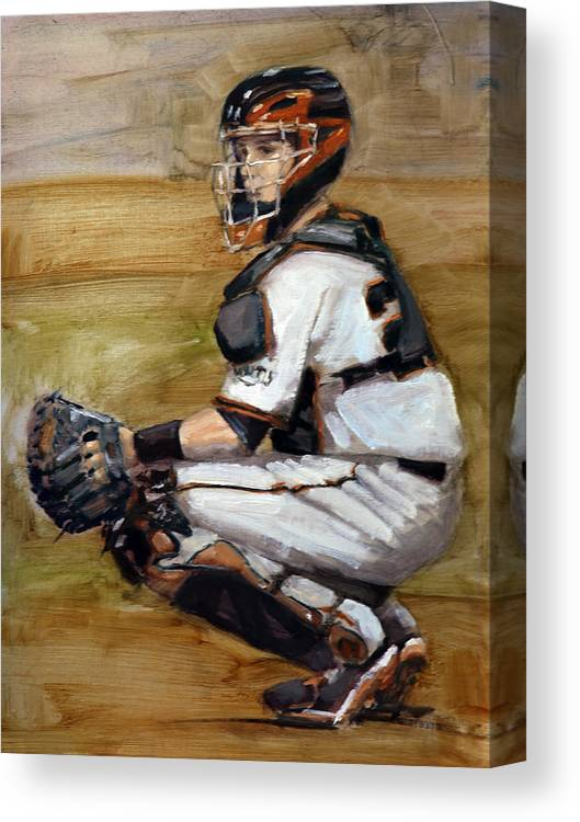 Buster Posey Painting Canvas Print featuring the painting Untitled by Darren Kerr