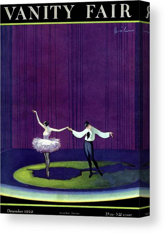 Illustration Canvas Print featuring the photograph Vanity Fair Cover Featuring A Masked Male Dancer by William Bolin
