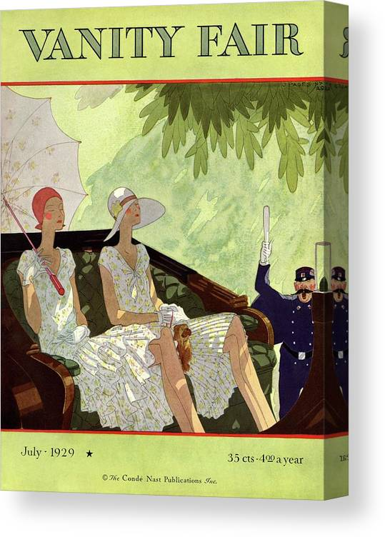 Illustration Canvas Print featuring the photograph Vanity Fair Cover Featuring Two Women Sitting by Jean Pages