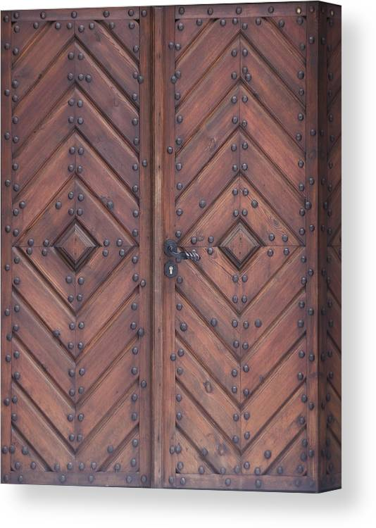Material Canvas Print featuring the photograph Vintage Wooden Brown Door Close-up by Bogdan Khmelnytskyi