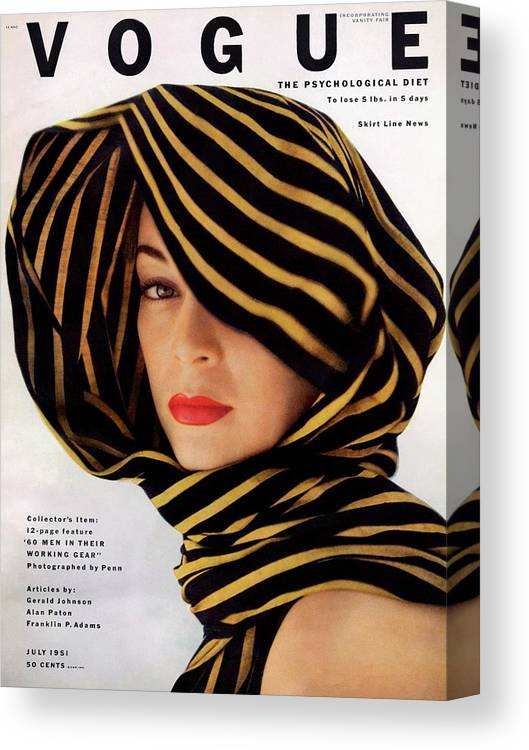 Fashion Canvas Print featuring the photograph Vogue Cover Of Jean Patchett by Clifford Coffin