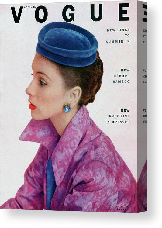 Fashion Canvas Print featuring the photograph Vogue Cover Of Suzy Parker by John Rawlings