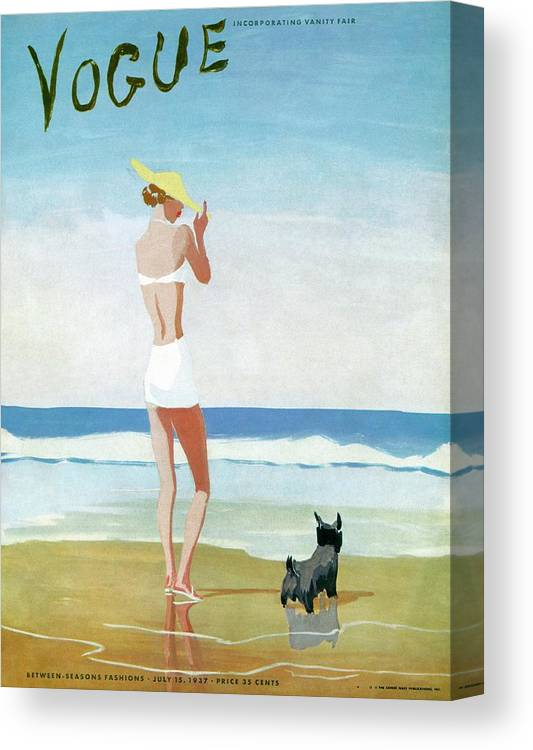Animal Canvas Print featuring the painting Vogue Magazine Cover Featuring A Woman On A Beach by Eduardo Garcia Benito