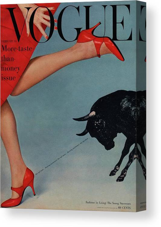 Fashion Canvas Print featuring the photograph Vogue Magazine Cover Featuring A Woman Running by Richard Rutledge