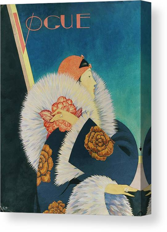 Fashion Canvas Print featuring the digital art Vogue Magazine Cover Featuring A Woman Wearing by George Wolfe Plank