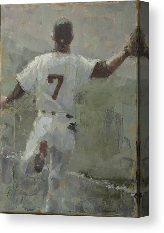 Gregor Blanco Canvas Print featuring the painting White Shark in Left by Darren Kerr