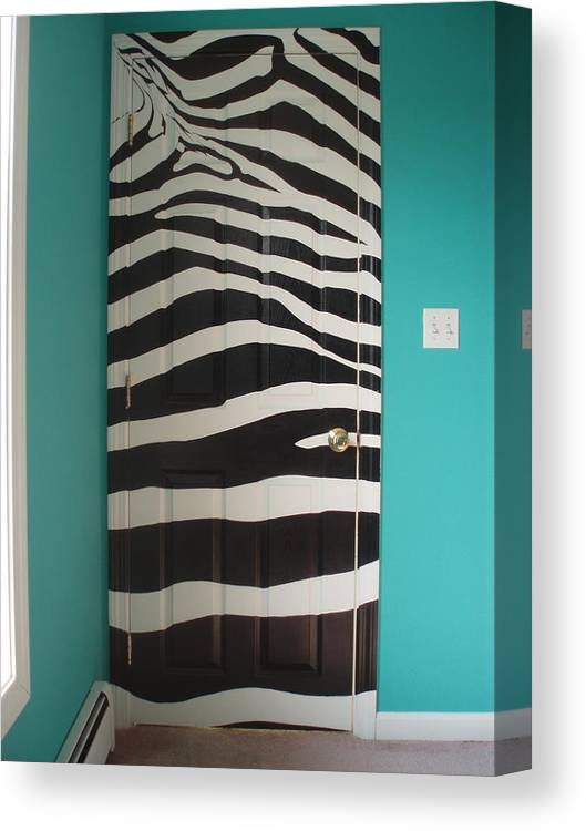 Acrylic Paint On Wood Canvas Print featuring the painting Zebra Stripe Mural - Door Number 2 by Sean Connolly