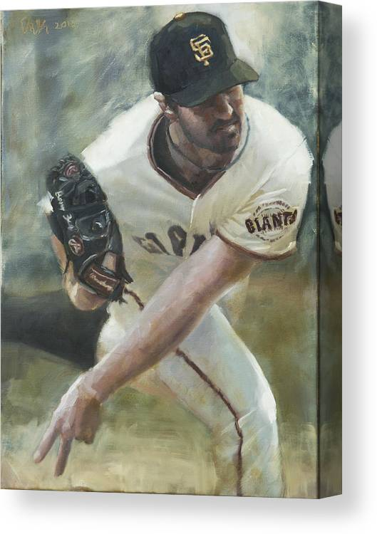 Barry Zito Canvas Print featuring the painting Zito Delivery by Darren Kerr