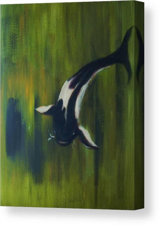 Koy Canvas Print featuring the painting Black and white koi by Joseph Ferguson