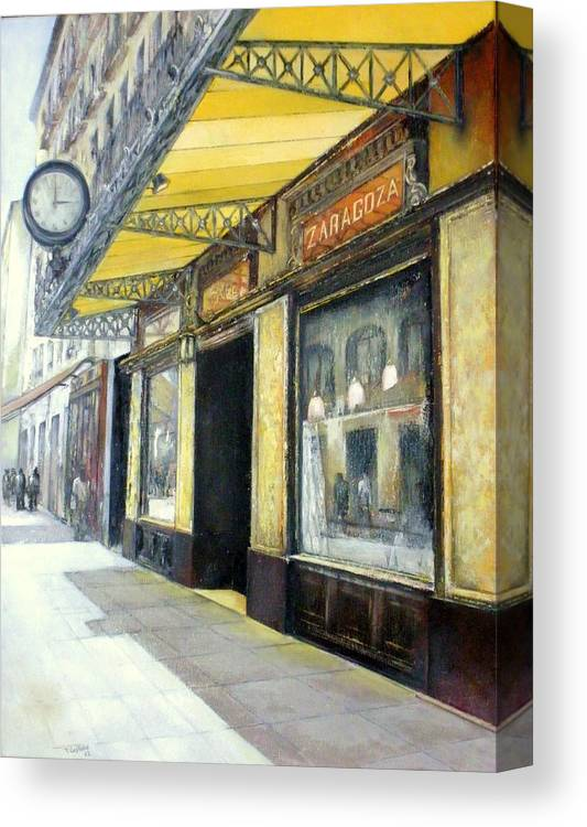 Coffee Canvas Print featuring the painting Gran cafe Zaragoza by Tomas Castano