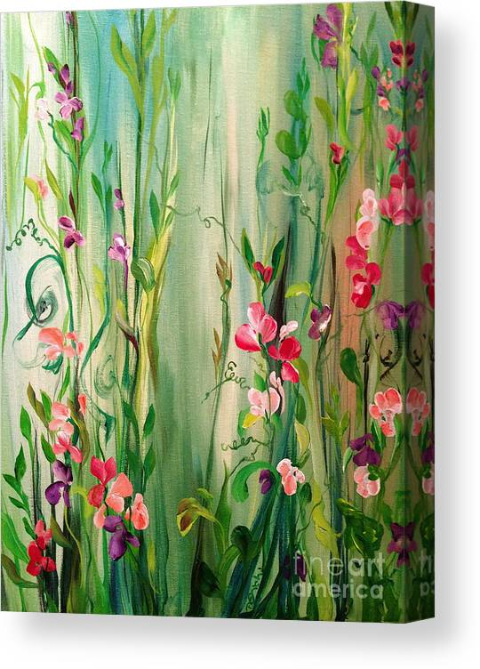 Sweet Peas Canvas Print featuring the painting My Sweet Pea by Dominique Eichi