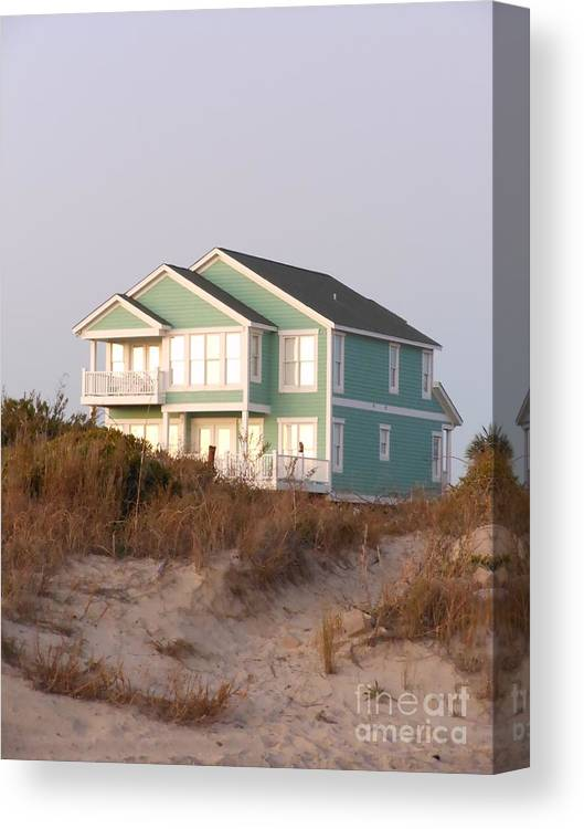 Taffy Colored Canvas Print featuring the photograph Reflections from a Beach House by Beebe Barksdale-Bruner