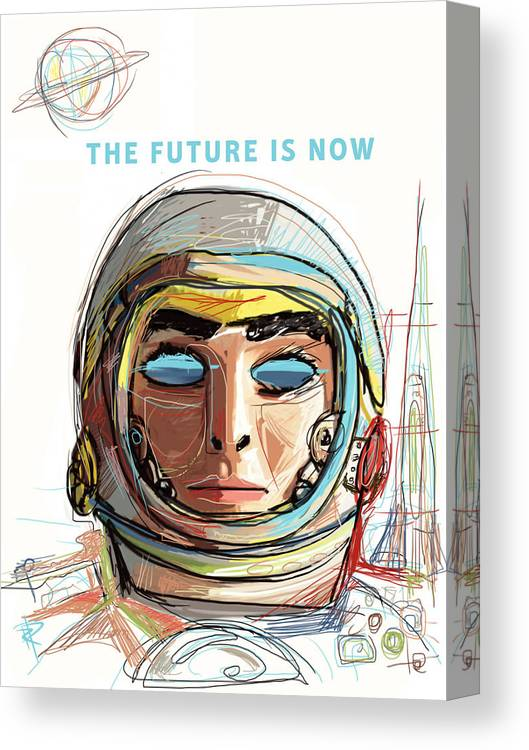Astronaut Canvas Print featuring the mixed media The Future is Now by Russell Pierce