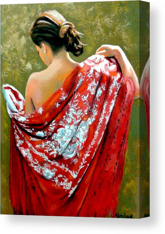Red Canvas Print featuring the painting aly by Jose Manuel Abraham