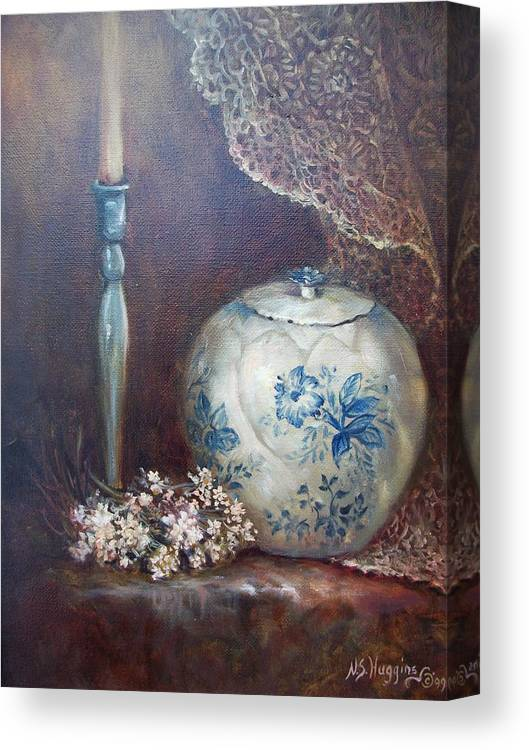 Stillife Canvas Print featuring the painting Antique Ginger Jar by Naomi Dixon