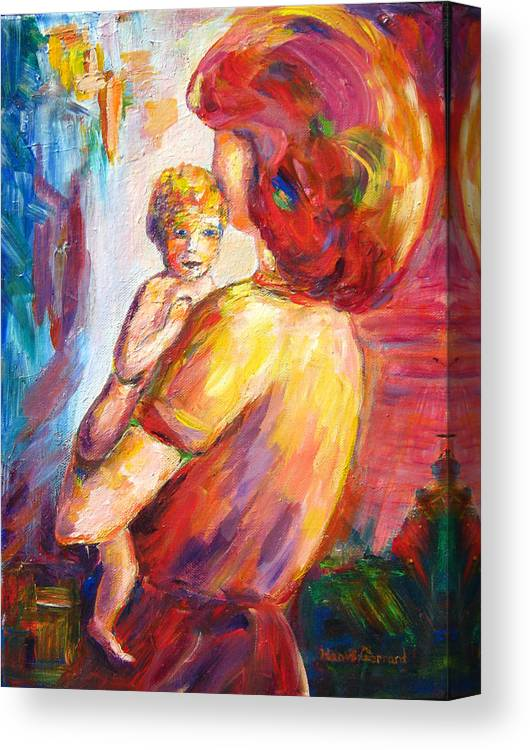 Mother And Child Enjoying A Hug. Canvas Print featuring the painting Special Moments by Naomi Gerrard