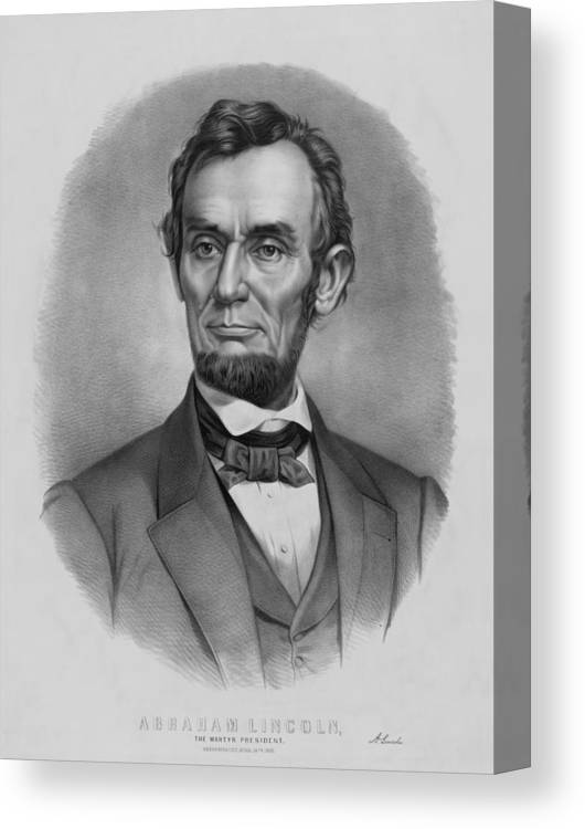 Abraham Lincoln Canvas Print featuring the drawing President Lincoln by War Is Hell Store