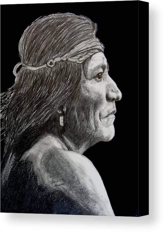 Pencil Canvas Print featuring the drawing Unknown Indian VI by Stan Hamilton
