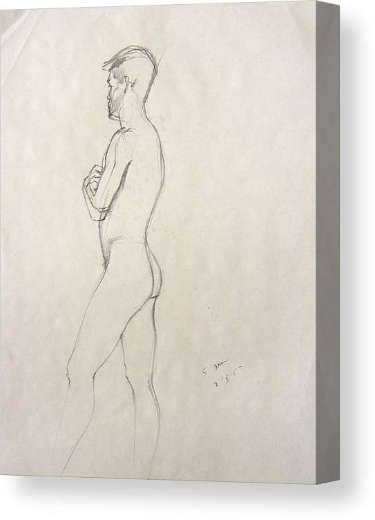 Figure Composition With Live Model Canvas Print featuring the drawing Untitled 3 by Howard Stroman