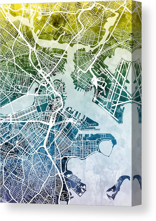 Street Map Canvas Print featuring the digital art Boston Massachusetts Street Map by Michael Tompsett